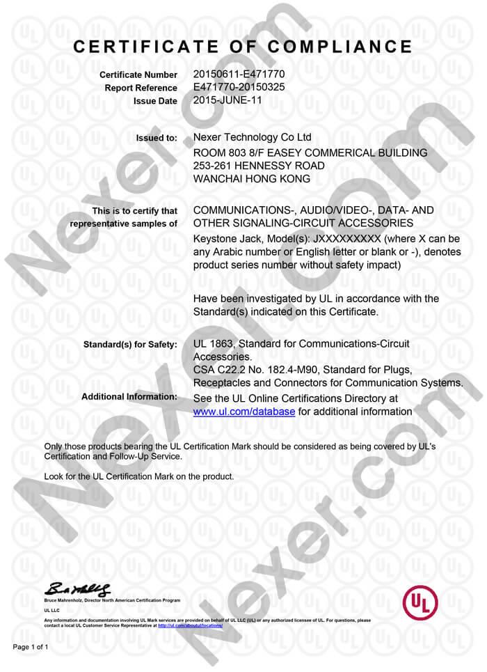 UL Certification for Keystone Jack